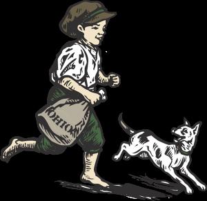 Boy running with dog (wood-cut)